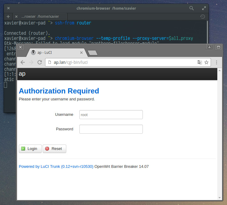 Using ssh-from to manage the AP through its website.