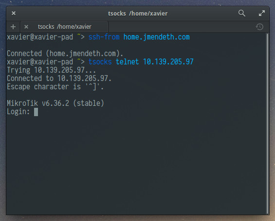 Connecting by telnet to a host through ssh-from.